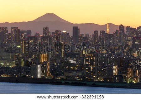 Fuji and Tokyo downtown skyscrapers of Twilight