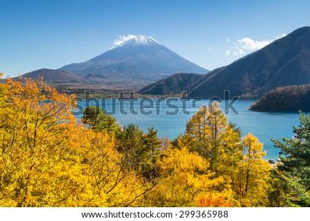 Fuji Mountain in the fall. - stock photo