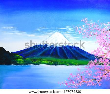 Fuji mountain painting - stock photo