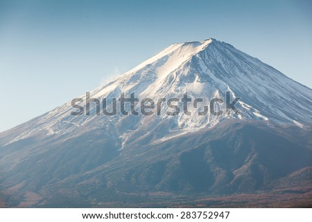 Fuji Mountain with Autumn leaf at kawaguchi lake
