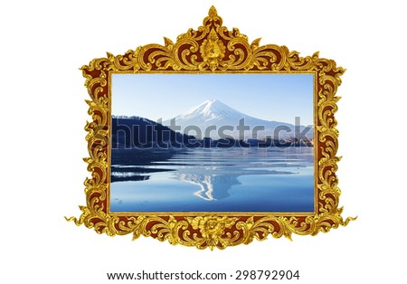 Fuji mt. in old antique gold frame Stucco walls greek culture roman vintage style pattern line design for border isolated on white background  - stock photo