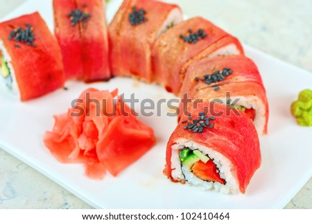 Fuji Sushi rolls made of tuna, pepper, avocado, cucumber