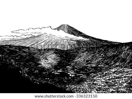 Line Art Illustration Style : Fuji view black white dashed style stock illustration 336323150