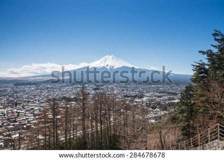 Fujikawa Town and Mountain Fuji view from Red pagoda in japan