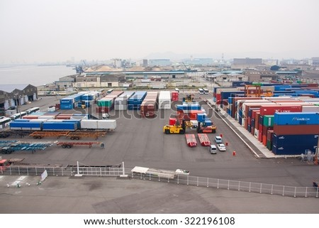 FUKUOKA, JAPAN - MAY 30, 2012 : industrial port with containers at Fukuok in Japan - stock photo