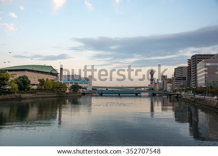 FUKUOKA - JAPAN - NOV 2015:  Bay in Fukuoka Prefecture, Japan during the Morning on 12 Nov 2015