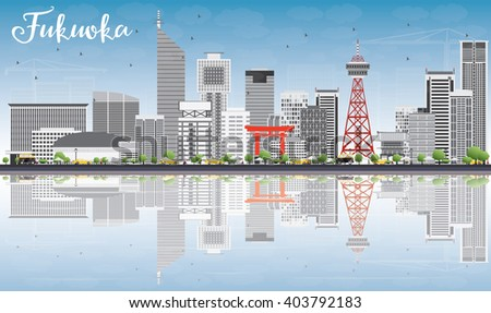 Fukuoka Skyline with Gray Landmarks, Blue Sky and Reflections. Business Travel and Tourism Concept with Historic Buildings. Image for Presentation Banner Placard and Web Site.