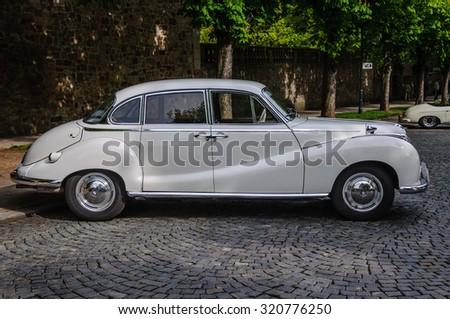 FULDA, GERMANY - MAY 2013: BMW 501 502 luxury saloon retro car on May 9, 2013 in Fulda, Germany - stock photo