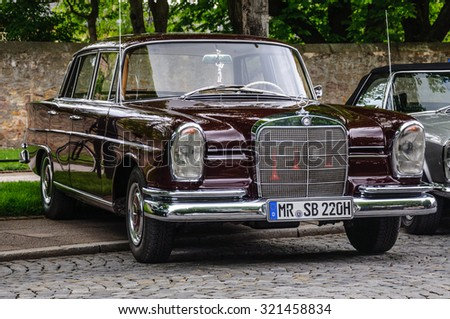 FULDA, GERMANY - MAY 2013: Mercedes-Benz 220 SE Limousine retro car on May 9, 2013 in Fulda, Germany - stock photo