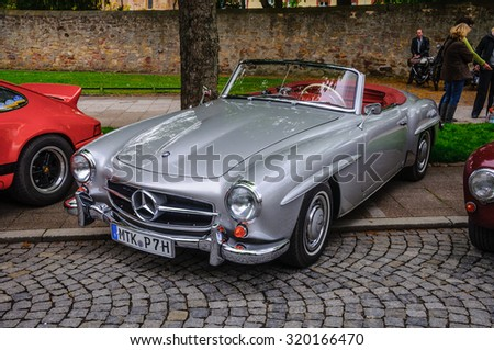 FULDA, GERMANY - MAY 2013: Mercedes-Benz 300SL cabrio roadster retro car on May 9, 2013 in Fulda, Germany