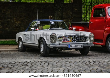 FULDA, GERMANY - MAY 2013: Mercedes-Benz 280 SL roadster retro car on May 9, 2013 in Fulda, Germany