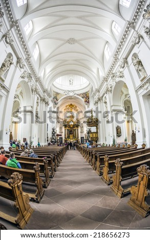 FULDA, GERMANY - SEP 20. 2014: inside of baroque Cathedral in Fulda, Germany. Fulda Cathedral is the former abbey church of Fulda Abbey and the burial place of Saint Boniface.