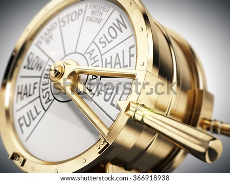 Full Ahead concept - Vintage ships engine room telegraph on full speed ahead - stock photo