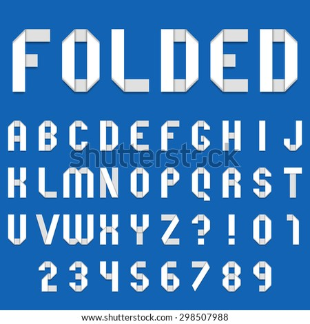 Full alphabet of folded white paper font - stock photo