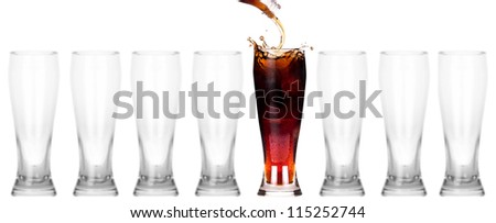 full and empty glass of fresh  cola drink isolated on a white background.leader concept - stock photo