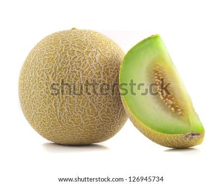 Full and Slice Cantaloupe Isolated on White Background - stock photo