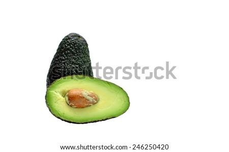 Full and sliced avocado fruit isolated on white background - stock photo