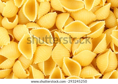 Full background of dry uncooked shell pasta - stock photo