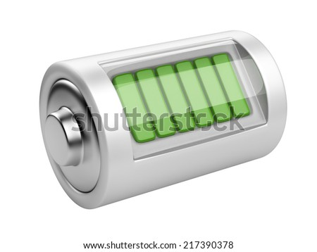 Full battery with charge level. 3d illustration isolated on a white background - stock photo