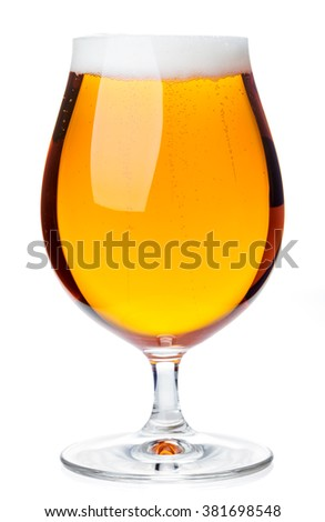 Full beer snifter glass of pale lager of pils isolated on white background