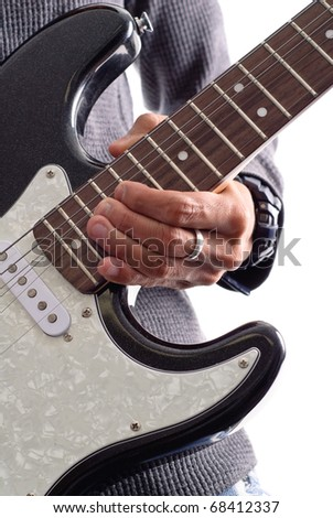 Full Bend on High Note with Electrical Guitar - stock photo