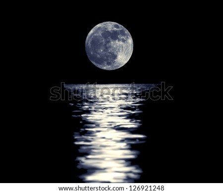 Full blue moon with reflection closeup showing the details of the lunar surface.As seen from Varna,Bulgaria - stock photo