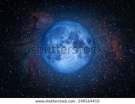 """Full blue moon with star at dark night """"Elements of this image furnished by NASA """"  - stock photo"""