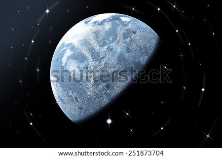 Full blue moon with star at dark night sky background - stock photo