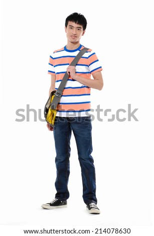 Full body Asian adult student in casual wear with school bag standing model. - stock photo