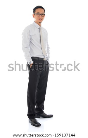 Full body Asian business man standing isolated on white background. Asian male model. - stock photo