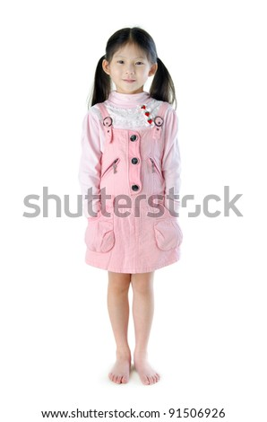 Full body Asian girl standing on white background - stock photo