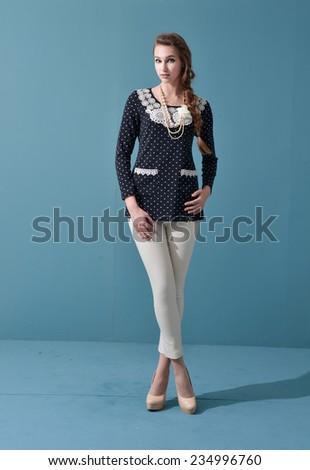 Full body beautiful stylish girl in fashion stylish- Fashion model posing at studio - stock photo