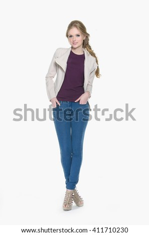 Full body beautiful young fashion model in jenans -white background - stock photo