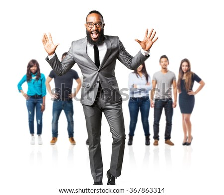 full body business black man shouting - stock photo