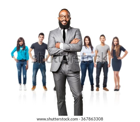 full body business black man smiling