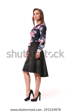 full body business woman in modern trendy official skirt and printed long sleeve blouse  - stock photo