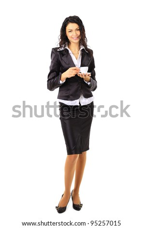 Full body business woman with cup of coffee