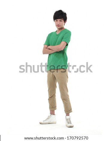 Full body casual young man standing with arm crossed over white background - stock photo