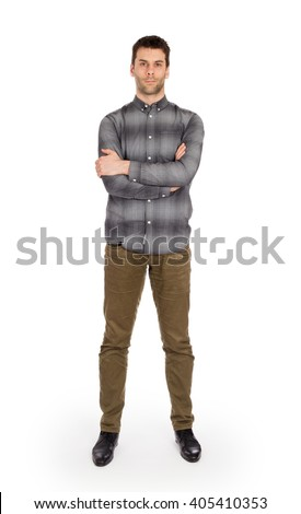 Full body Caucasian man standing isolated on white background
