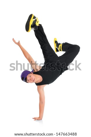 Full body cool looking Asian teen hip hop dancer isolated on white background. Asian youth culture. - stock photo