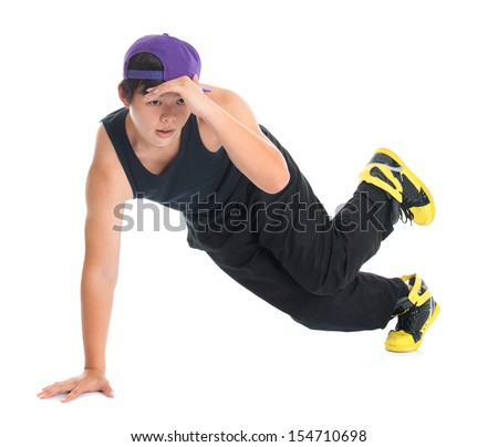 Full body cool looking young Asian teenage dance hip hop isolated on white background. Asian youth culture. - stock photo