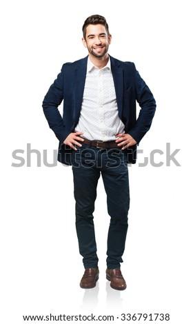 full body cool man - stock photo