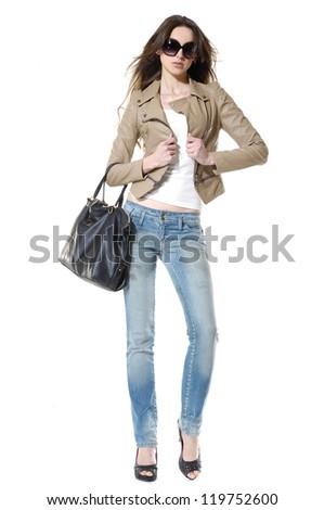 Full body fashion girl wearing sunglasses, posing on white background - stock photo