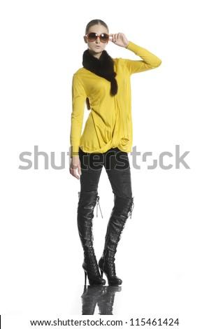 Full body fashion model in fashion dress wearing sunglasses - stock photo