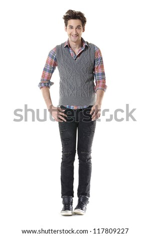 Full body handsome young man standing on white background