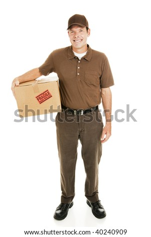 Full body isolated view of a handsome delivery man with a fragile package. - stock photo