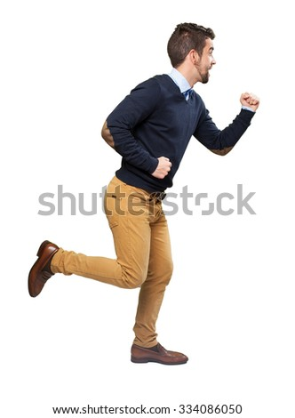 full body man running - stock photo