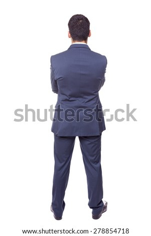 Full body of a business man standing from the back, isolated on white background - stock photo