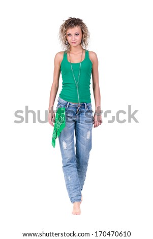 Full body of a casual young woman isolated on white - stock photo