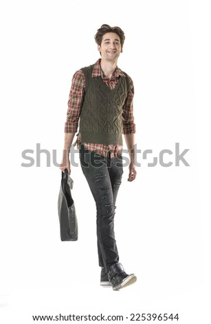 full body of a fashion man in jeans posing - stock photo